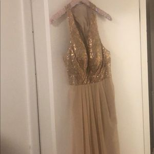 Bari Jay gold sequin long gown